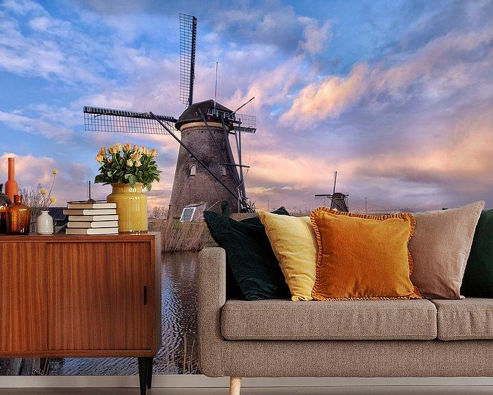Sfeerimpressie behang: Kinderdijkse molens van Sander Poppe