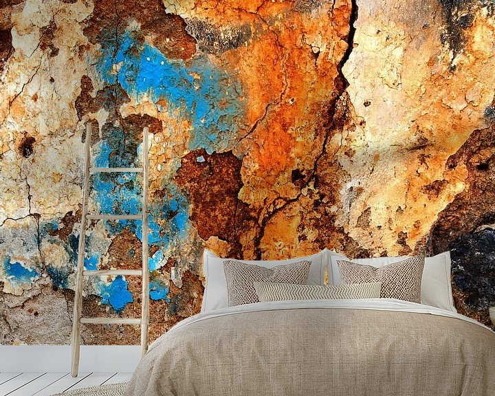 Sfeerimpressie behang: Verweerde muur - studie 2 van Hans Kwaspen