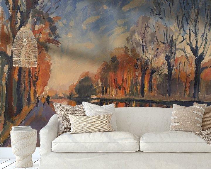 Sfeerimpressie behang: Leon, Jeanneke en Kristien langs het Turnhout-Dessel-Schoten Kanaal van Nop Briex