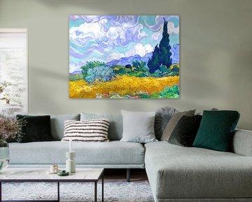 Weizenfeld mit Zypressen - Vincent van Gogh - 1889