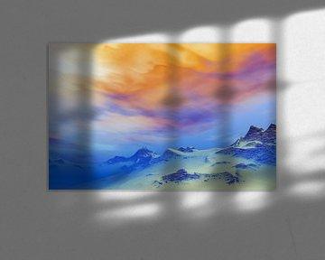 Besneeuwde bergen in de schemering 2 van Angel Estevez