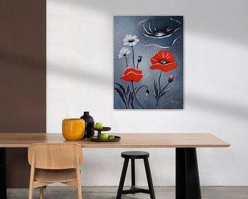 Roter Mohn - Mohnblumenbild abstrakt von Marita Zacharias