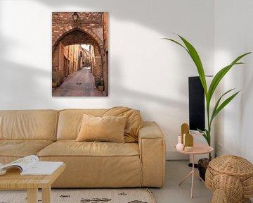 Mittelalterliches Tor in einer Straße eines französischen Dorfes von Bobsphotography