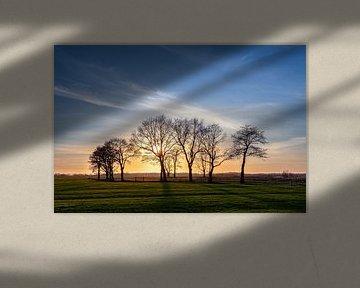 Zonsondergang Leekstermeergebied in De Onlanden van R Smallenbroek