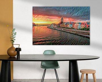 Kleurrijk Schilderij Deventer aan de IJssel