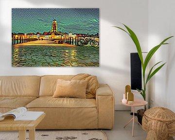 Kunstwerk van Deventer: Skyline vanaf de IJssel in de stijl van Picasso