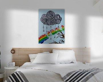 Wolk met druppels en regenboog van Birdy May