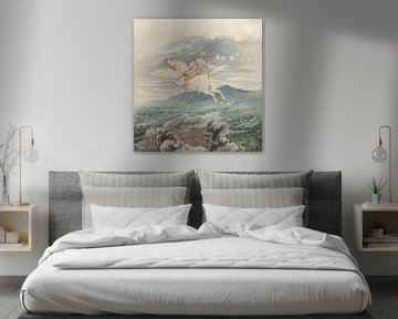 Female figure riding Pegasus over an industrial city, Karl Friedrich Schinkel