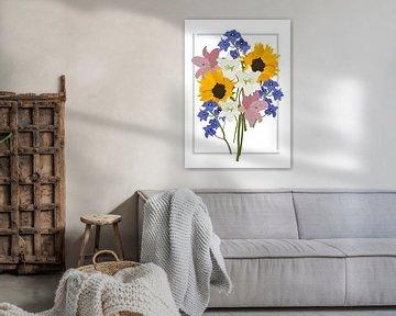 Blumenstrauß, Illustration weiß von Nynke Altenburg