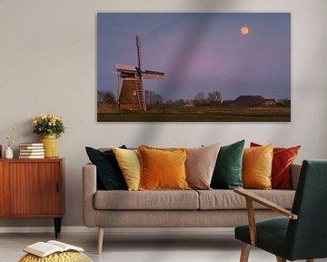 Sonnenuntergang und Vollmond am Hoeksmeer, Garrelsweer, Groningen, Niederlande