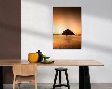 Morro Bay - Morro Rock - Californie van Keesnan Dogger Fotografie