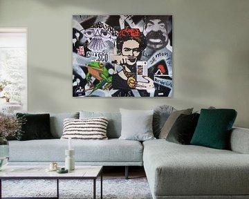 Frida Kahlo, Moderne zeitgenössische Wandmalerei von Atelier Liesjes