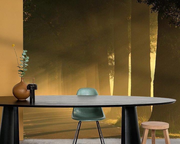 Sfeerimpressie behang: Zonlicht door de bomen op een weg. Zen, rust van Bobsphotography