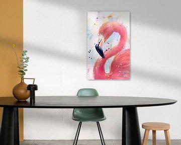 Flamingo-Gemälde von Nicole Habets