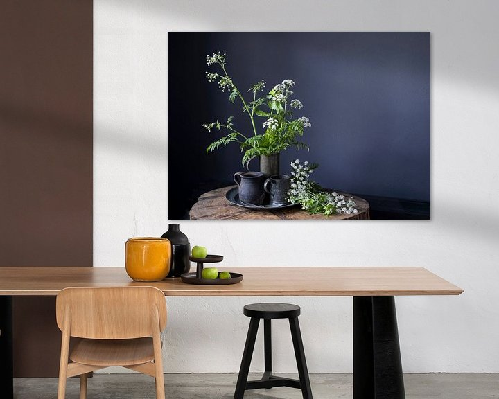 Sfeerimpressie: Stilleven met fluitenkruid en tin op hout [horizontaal] van Affect Fotografie
