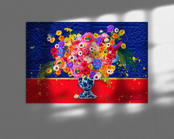 Beispiel: Blumen in Blau und Rot von Nicole Habets