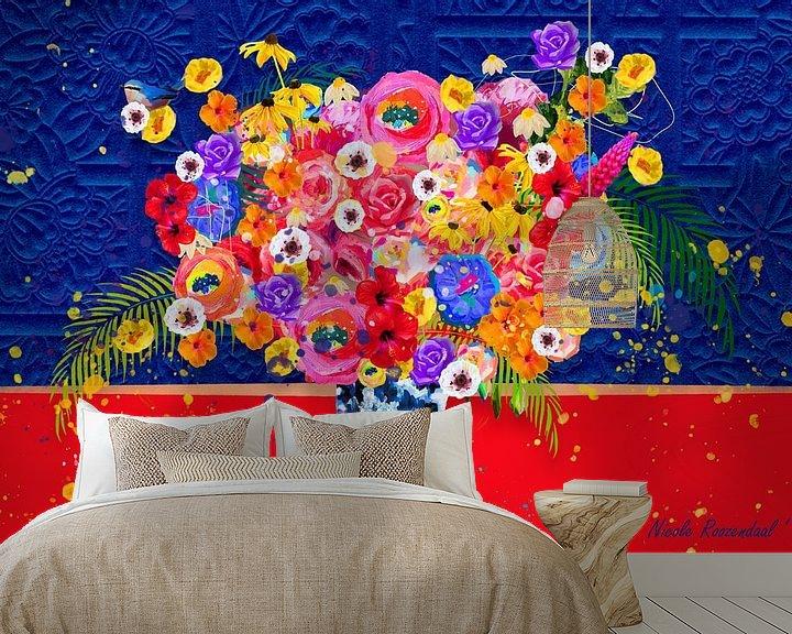 Beispiel fototapete: Blumen in Blau und Rot von Nicole Habets