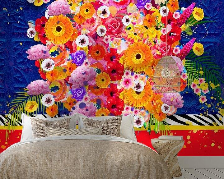 Beispiel fototapete: Fröhliche Blumenmalerei von Nicole Habets