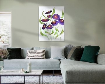 Paarse bloemen van Jessica van Schijndel
