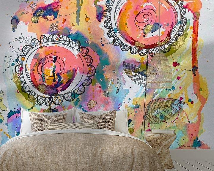 Sfeerimpressie behang: Abstracte bloemen van Jessica van Schijndel
