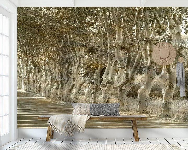 Sfeerimpressie behang: 1965 Dancing plane trees - Remix van Adrien Hendrickx