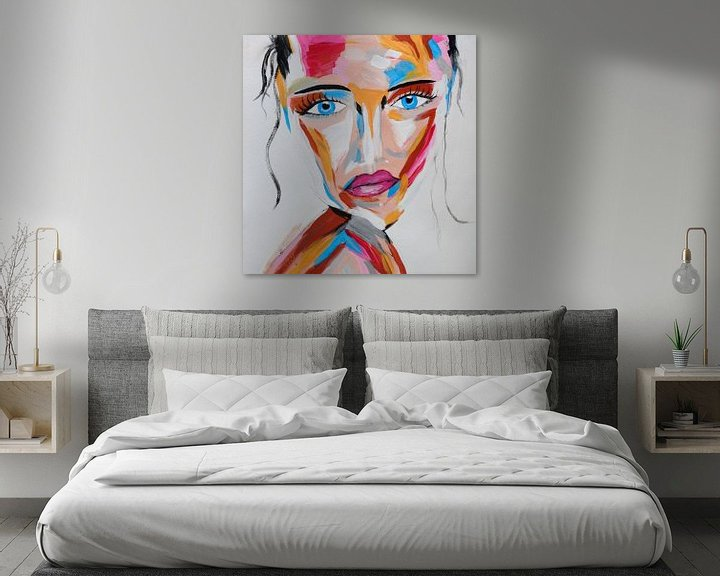 Beispiel: Topaz Secret - Buntes abstraktes Porträt einer mysteriösen Frau mit blauen Augen von Roger VDB