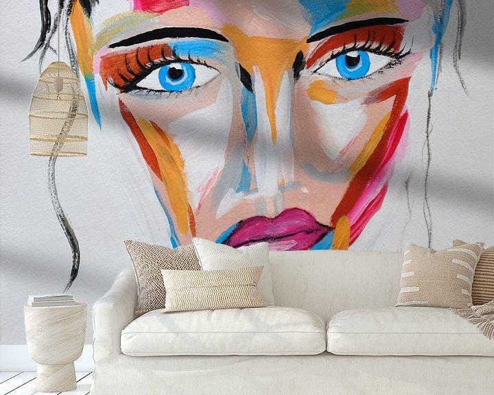 Beispiel fototapete: Topaz Secret - Buntes abstraktes Porträt einer mysteriösen Frau mit blauen Augen von Roger VDB