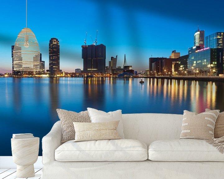 Sfeerimpressie behang: Rijnhaven, Rotterdam tijdens blue hour van Rob de Voogd / zzapback