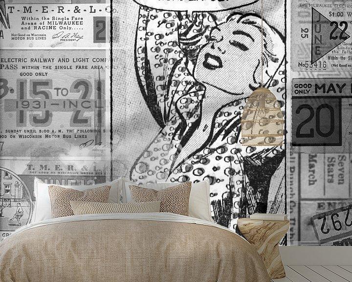 Beispiel fototapete: Pop-Art in Schwarz-Weiß von Atelier Liesjes