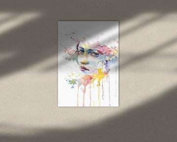 Gesicht einer Frau in Aquarell von Atelier Liesjes