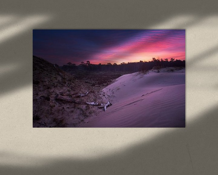 Sfeerimpressie: Zonsopkomst zandverstuiving Veluwe van Rick Kloekke