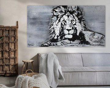 Der König der Löwen auf dem Felsen von Kathleen Artist Fine Art