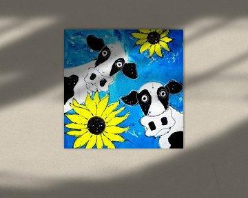 Zwei Kühe mit Sonnenblumen von Nicole Habets