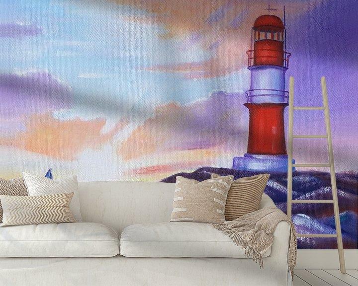 Beispiel fototapete: Sonnenaufgang am Leuchtturm Warnemünde von Marita Zacharias