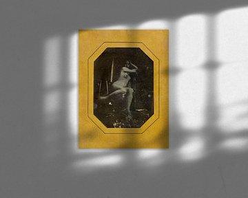 Pinup meid poseert, sexy naakt. oude foto tussen 1842 en 1846 van Atelier Liesjes