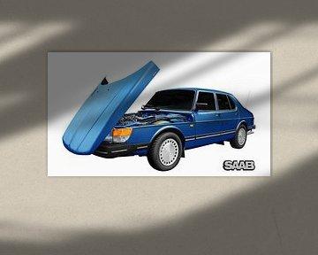 Saab 900 Sedan in blue von aRi F. Huber