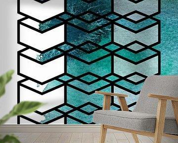 The transparency of water | Geometrie en Aquarel van WatercolorWall