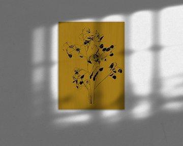 Botanische print judaspenning, oker geel