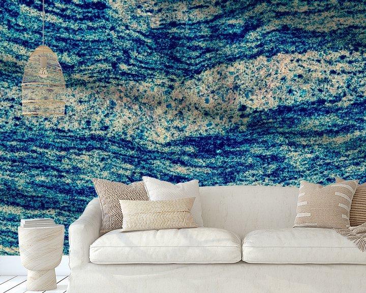 Sfeerimpressie behang: Abstract  blue pattern van Ilya Korzelius