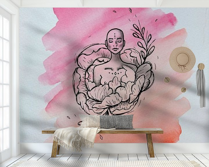Sfeerimpressie behang: ZEN l - Aquarel x Tekening van Claudia Maglio