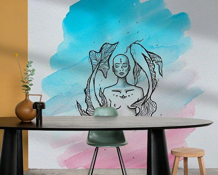 Beispiel fototapete: ZEN ll - Aquarell x Zeichnung von Claudia Maglio