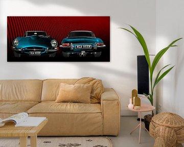 Jaguar E-Type Roadster Series I Poster en bleu double vue sur aRi F. Huber