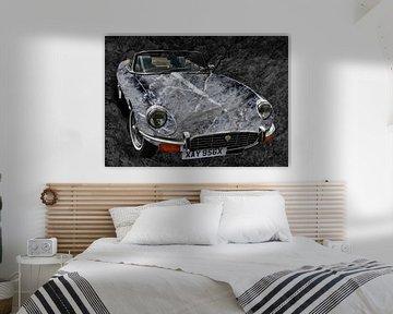 Jaguar E-Type Serie 3 Roadster Art Car in black & grey stone von aRi F. Huber