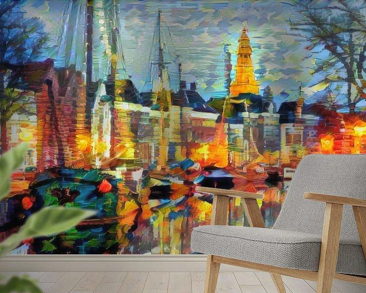 Sfeerimpressie behang: Abstract kunstwerk - Hoge der A Groningen van Slimme Kunst.nl