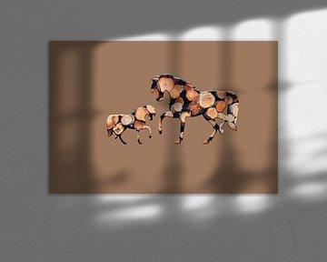 Hölzerne Pferde 3 von Catherine Fortin