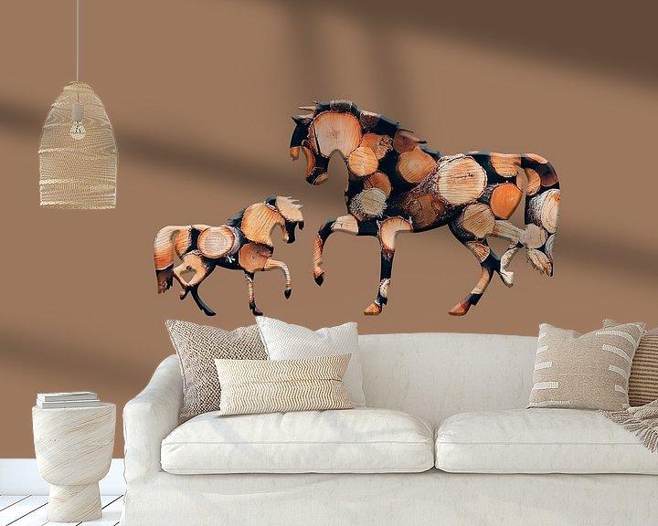Beispiel fototapete: Hölzerne Pferde 3 von Catherine Fortin