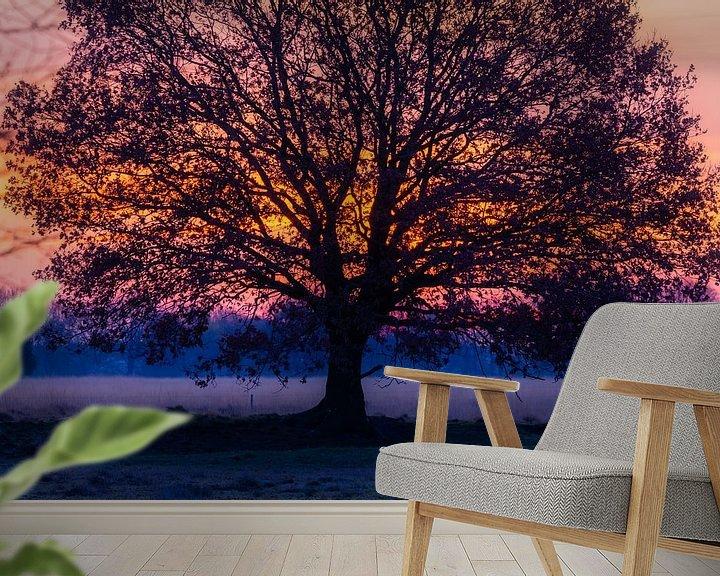 Sfeerimpressie behang: Zonsopkomst achter boom van Anneke Hooijer
