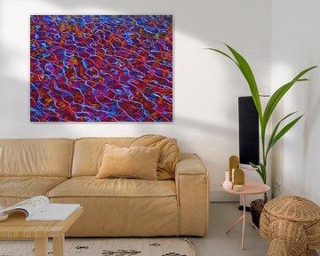 Water-Golven (Kleurrijke Waterstructuur) Versie 2 Blauw van Caroline Lichthart