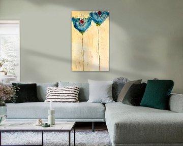 Zwei blaue Mohnblumen von Klaus Heidecker