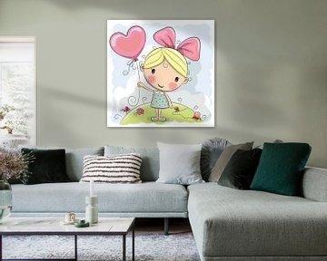 Süßes Mädchen mit Ballon